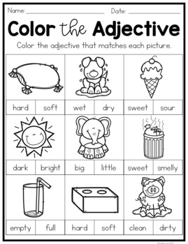 Adjectives No Prep Worksheets