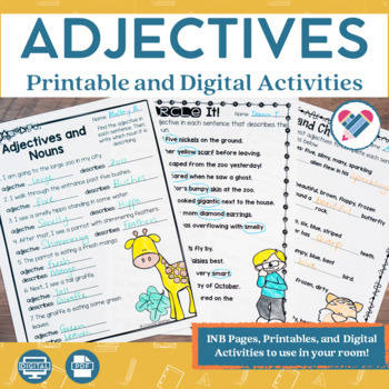 Adjectives Printables and Interactive Notebook Templates