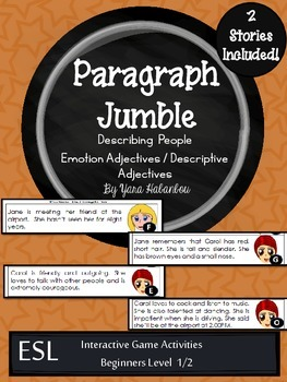 Adjectives Paragraph Sequencing