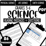 Science Reading Comprehension Passages & Questions Grade 3-6 (PDF)