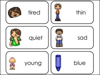 Adjectives Picture Word Flash Cards.