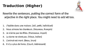 Adjectives / Position of adjectives / Adjectives before and after nouns