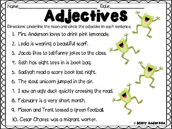 Adjectives Worksheet by Misty Anderson | Teachers Pay Teachers