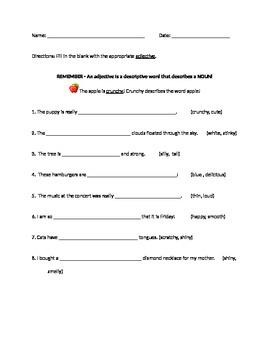 Adjectives Practice, Quiz, Test, Homework