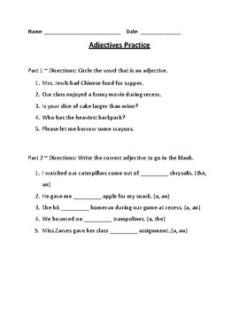 Adjectives Practice Sheet