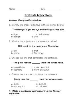 Adjectives Pretest