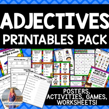 Adjectives Printables: Activities, Games, Posters, Worksheets