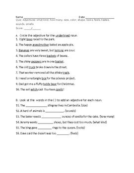 Adjectives Quiz