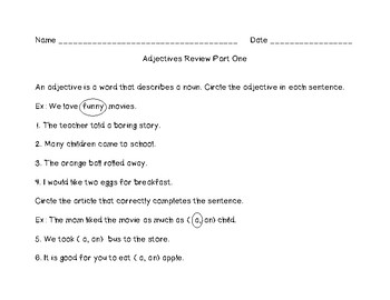 Adjectives Review Part One