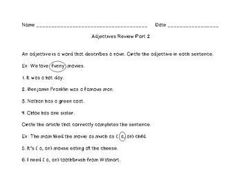 Adjectives Review Part Two