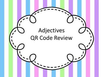 Adjectives QR Code Review Task Cards