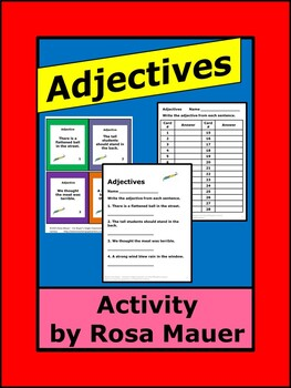 Learn and Practice Adjectives task Cards & Worksheet