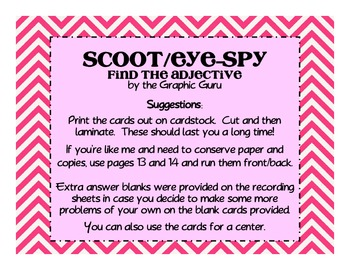 Adjectives Scoot and Eye-Spy