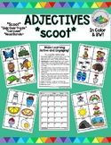 Adjectives Scoot with Pictures for primary grades with a variety of nouns