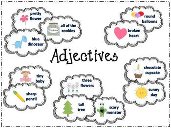 Adjectives Seatwork, Station or Center Posters and Differentiated Activities