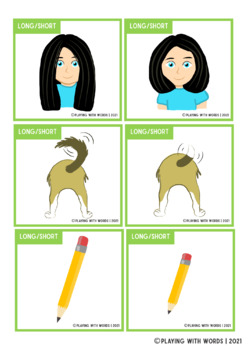 Adjectives Series: Long and Short- Flashcards and Worksheets