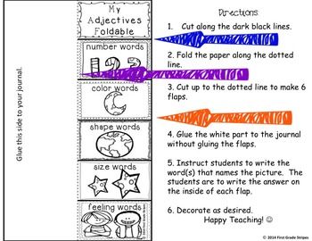 Adjectives Signs & Interactive Journal Activities Foldables