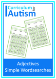 Adjectives Easy Word Search Puzzles Autism Reading Literacy ESL