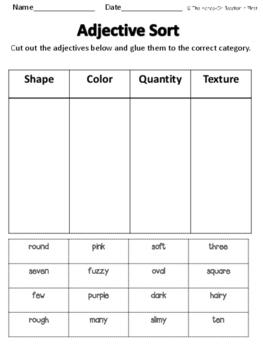 Adjectives Sorting FREEBIE