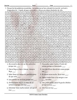 Adjectives Spanish Word Search Worksheet
