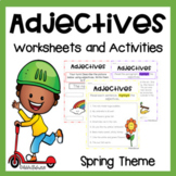 Adjectives Unit with Reading Passages, Worksheets and Activities for Spring