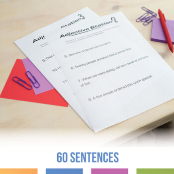 Adjective Stations: grammar stations with 60 sentences to practice adjectives