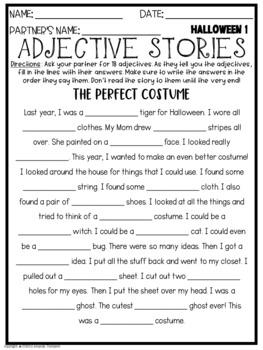Adjectives Stories HALLOWEEN