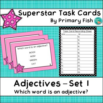Adjectives - Superstar Task Cards - Set 1