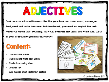 Adjectives Task Cards (superhero theme)
