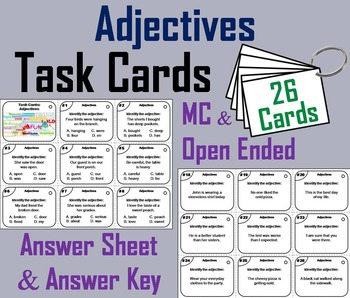 3rd 4th Grade Adjectives Task Cards