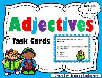 Adjectives Task Cards - Grammar