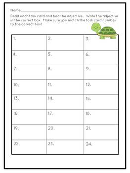 Adjectives Task Cards Grammar Practice