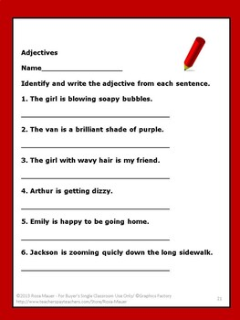 Adjectives Challenge Activity for Parts of Speech Unit