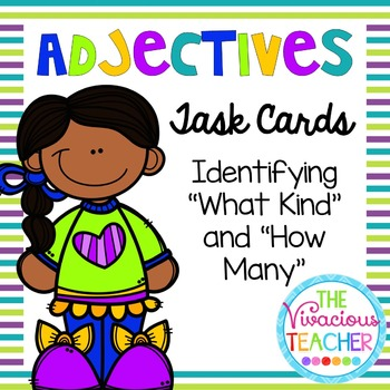 "Adjectives Task Cards/ Scoot Activity: Identifying ""What Kind"" and ""How Many"""