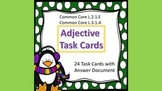 Adjectives Task Cards Winter Theme Common Core - L.2.1.E & L.3.1.A