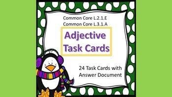 Adjectives Task Cards Winter Theme Common Core - L.2.1.E & L.3.1.A