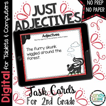 Adjectives Task Cards for Google™ Use