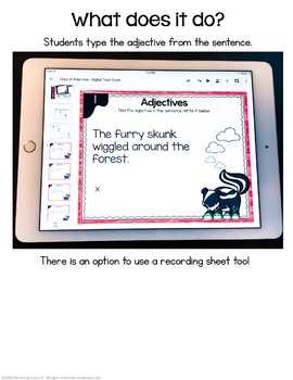 Adjectives Task Cards- Digital for Google Classroom Use