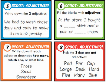 Adjectives Task Cards with Scoot Practice!