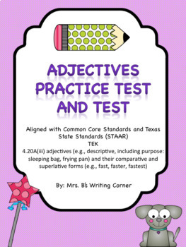Adjectives  STAAR Pre-test and Test