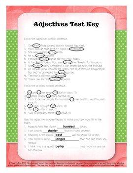 Adjectives Test Quiz Parts of Speech Assessment