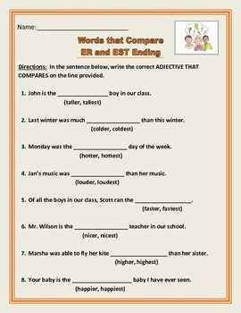 Adjectives That Compare - ER and EST Endings - Common Core.