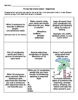 Spanish Adjectives - Tic Tac Toe Review Board