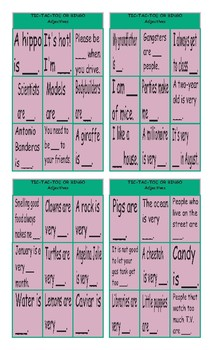Adjectives Tic-Tac-Toe or Bingo Game