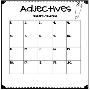 Adjectives Activity Center