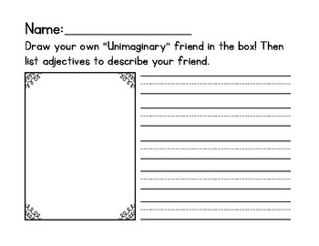 Adjectives 'Unimaginary' Friend Writing Activity