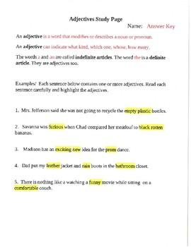 Adjectives Unit