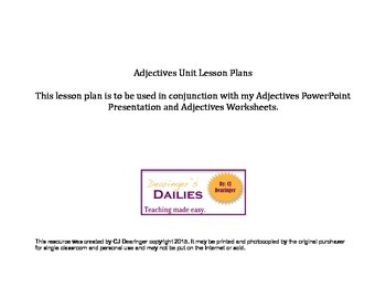 Adjectives Unit Lesson Plans
