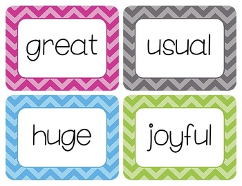 Adjectives Word Wall Cards