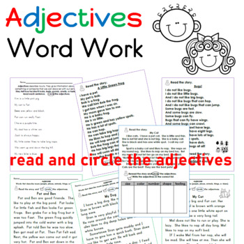Adjectives Word Work Packet (17 pages)
